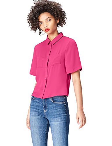 Marchio Amazon - find. Camicia a Manica Corta con Taschini Donna, Rosa (Cabaret 18-2140), 40, Label: XS
