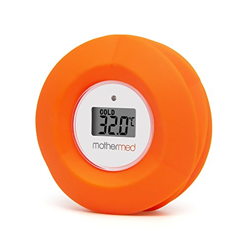 MotherMed Baby Bath Thermometer and Floating Bath Toy Bathtub and Swimming Pool Thermometer Red Flow