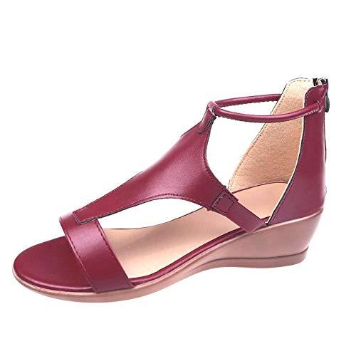 Femmes Été Plage Sandales Antidérapant,Chaussures pour Femmes à Boucle de Talon compensé de Grande Taille, Sandales d'été pour Dames-vin Rouge_39