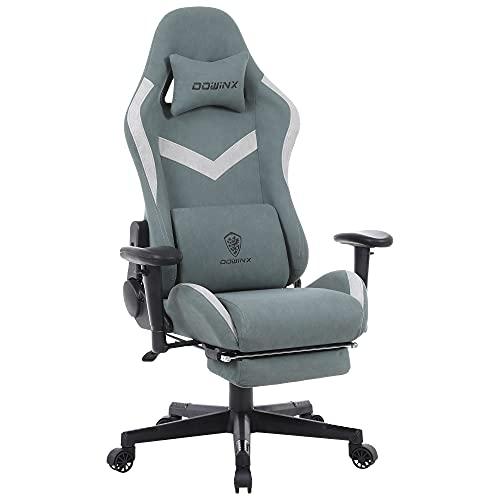 Dowinx Gaming Stuhl Bürostuhl mit Massage-Lendenwirbelstütze, atmungsaktiver Stoff hohe Rückenlehne Verstellbarer Drehstuhl mit Fußstütze (Grün)