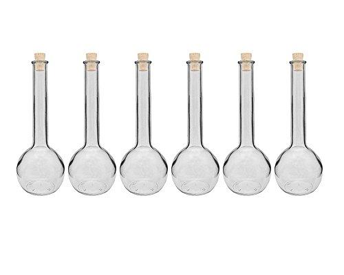 Glasflaschen Set mit Press-korken | 6/10 teilig | Füllmenge 500 ml | Tulipano Korkverschluss Likörflasche Ölflasche Glasflasche Grappa (6 Stück)