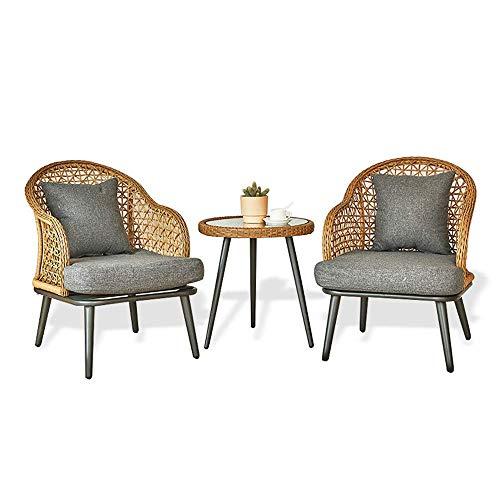 kaige Ratán Conjunto sillón, 2 sillones y una pequeña Mesa de Vidrio + + Cojines Almohadas, sillón de jardín Muebles de terraza de Efecto Invernadero de Ocio WKY