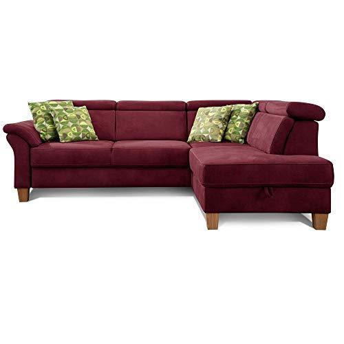 Cavadore Ecksofa Ammerland mit Ottomane rechts / Federkern-Sofa im Landhausstil mit verstellbaren Kopfstützen / 245 x 84 x 194 / Lederoptik rot