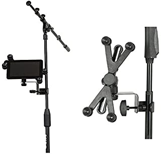Hola! Music HM-MTH Microphone Music Stand Tablet/Smartphone Holder Mount - Fits Devices from 6 to 15 Inch