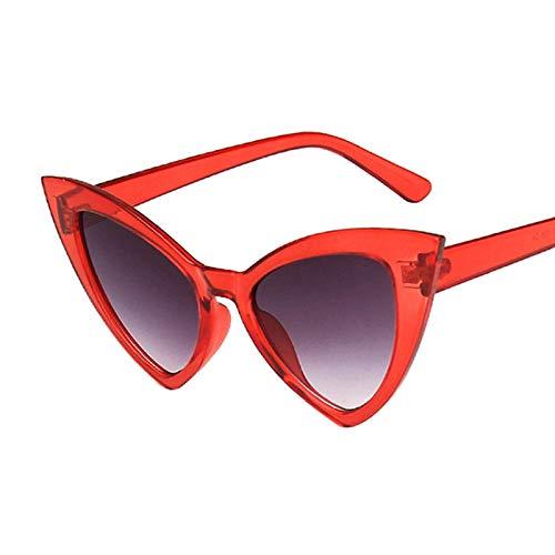 ShSnnwrl Gafas De Moda Gafas De Sol Gafas De Sol De Ojo De Gato para Mujer, Montura De Ojo De Gato Retro Vintage, Gafas Rojas para Mujer, Gafas De Sol C6