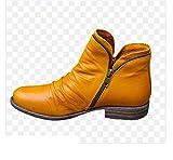 Mujeres PU cargadores del tobillo de las mujeres del invierno del otoño mujeres de la cremallera de la vendimia del punk botas planas de las señoras zapatos planos cortos de la nieve Botas,Amarillo,36