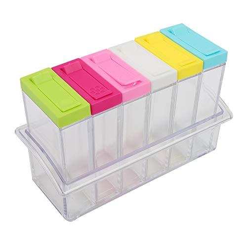 Botellas de condimento Tarros Juego de 6 cajas Accesorios para herramientas de cocina Caja fuerte de plástico transparente