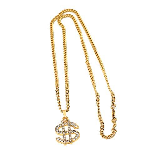 N/A. Modische goldene Hip-Hop-Halskette mit amerikanischem Dollar-Strass-Anhänger mit langer kubanischer Kette, Schmuck für Frauen und Männer, tolles Geschenk zum Geburtstag