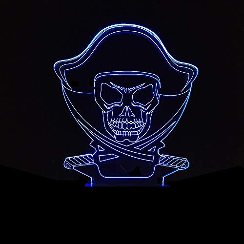 Luyshts Calavera LED lámpara gradiente colorido 3D estereoscópico táctil remoto USB noche luz creativa escritorio decorativo ambiente cumpleaños 20 * 13 cm