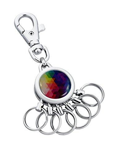 Schlüsselanhänger Kingsport mit Karabinerhaken und 6 abnehmbaren Ringen - Verschiedene Designs erhältlich - von Jadani (Colourful Triangle)
