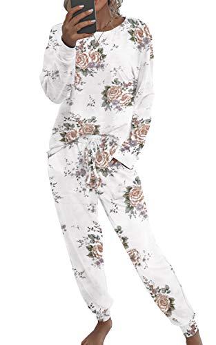 Spec4Y Pyjama Damen Zweiteilige Nachtwäsche Tie Dye Druck Langarm Oberteil Lang Hose Schlafanzug Loungewear mit Taschen 2035 Weiß X-Large