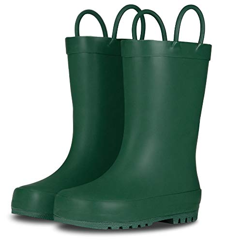 LONECONE Elementary Collection - Premium Natural Rubber Rain Boots with Matte Finish for Toddlers and Kids, Leap Frog Green, Little Kid 11