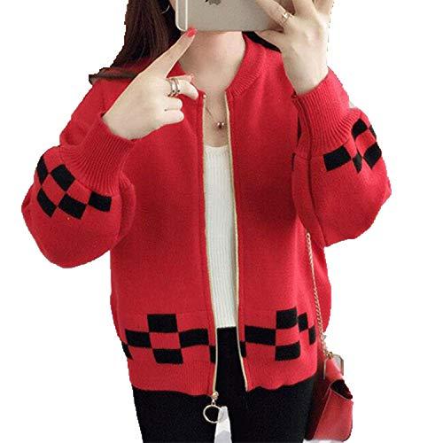 CoolStory Zipper Cardigan Women Winter Long Sleeve Sweater Cardigan Female Knitted Jacket Women Yellow Red Blue Red S
