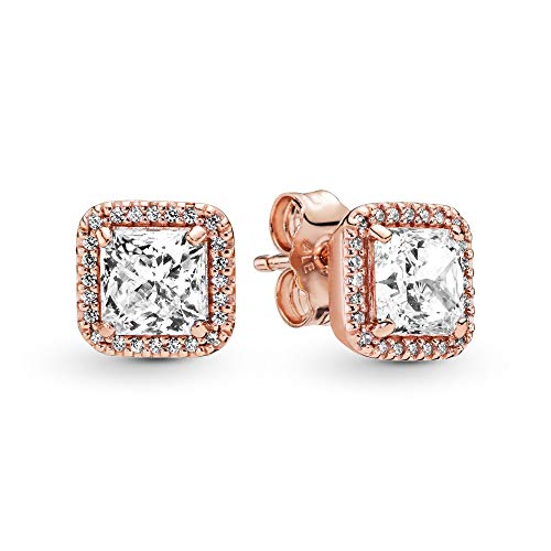 Pandora Jewelry Square Sparkle Halo Stud Cubic Zirconia Earrings in Pandora Rose
