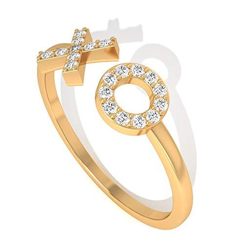 IGI-zertifizierter Diamant Initiale Manschette Ehering, zierlicher HI-SI Diamant minimal einstellbarer Buchstabe Alphabet Ring, 10K Gelbes Gold, Size:EU 70