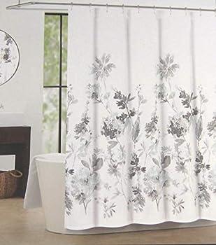 Tahari Home Floral Fabric Shower Curtain Giacomo Light Blue and Gray 72  X 72