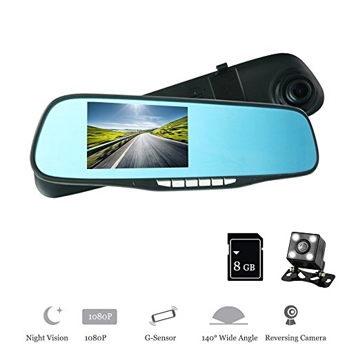 XISEDO Caméra de Rétroviseur, Dash Cam, Écran LED Haute Luminosité de 4.3 Pouces Full HD 1080P Caméra Avant à Double Lentille de Voiture, 140 ° Grand Angle DVR