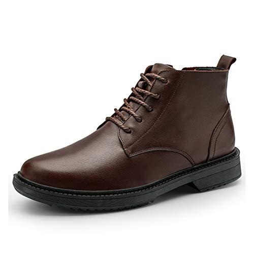 Datouya Botas de Oxford de los Hombres Toe Redondo Mid-Top Encaje-Up Suela de Goma Baja de tacón bajo Zapatos Casuales al Aire Libre Proporcionar la Mejor Comodidad para su Vida en to
