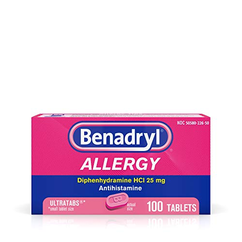 Benadryl Ultratabs Antihistamine Allergy Relief with Diphenhydramine HCl 25 mg, 100 Count (Pack of 1)
