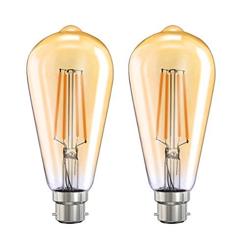 MoKo Smart WLAN Edison Glühbirne, B22 7.5W WiFi Vintage Birne Dimmbar LED Lampe Glühlampe Retro Glühbirnen Kompatibel mit Alexa Echo Google Home SmartThings, Warmweiß Licht Fernsteuerung Timer, 2 Pack