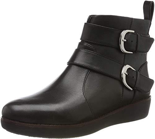 Fitflop Damen LAILA DOUBLE BUCKLE Stiefeletten, Schwarz (Black 001), 41 EU