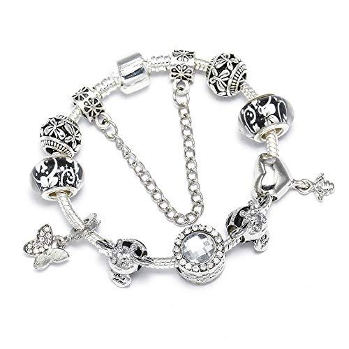 Lindo abeja mariposa encantos granos se adapta a la serpiente cadena encanto pulsera DIY joyería moda regalo para las mujeres C01 16cm