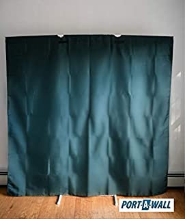 Privacy Room Divider - White Poles with Dark Green Fabric
