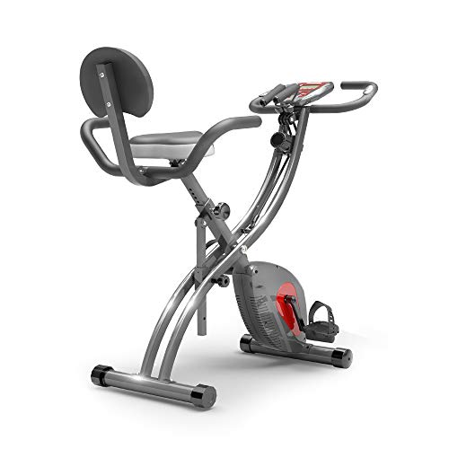 PROIRON Folding Exercise Bike for Home, Indoor Fitness Bike with Resistance Bands, 8 Magnetic Resistance Levels, Stationary Trainer for Home Use, LCD Display, Phone Holder