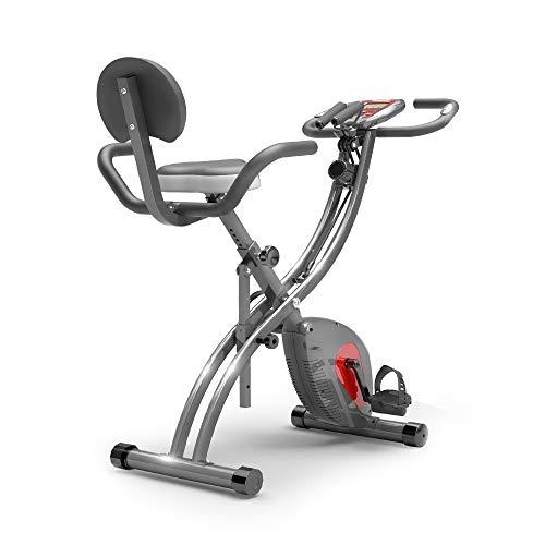 PROIRON Bicicleta Estática Plegable - Bici estatica con sensores de Pulso de Mano, Bandas de Ejercicio, Soporte para Teléfono móvil para Ejercicio Entrenamiento en Casa, MAX hasta 120 kg