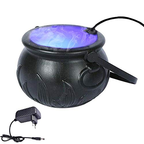 RecoverLOVE Haunted Mist Maker Halloween Mist Maker Nebelkessel Rauchen Halloween Dekorationen Wasserbrunnen Teich Nebelmaschine mit 12 Farbwechsel Licht Halloween Party Prop