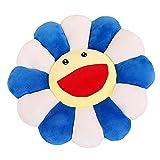 Asirclud Almohadas de felpa de girasol, cojín de asiento en forma de flor, cojín de asiento para el suelo, juguetes suaves para niños y niñas, decoración de dormitorio de lectura (azul)