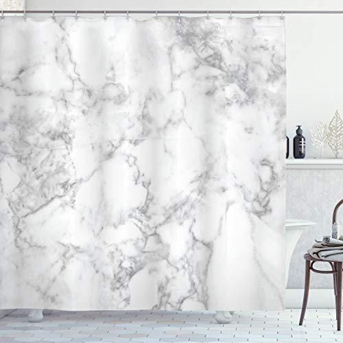 ABAKUHAUS Marmor Duschvorhang, Granit Natur Spots, Wasser Blickdicht inkl.12 Ringe Langhaltig Bakterie & Schimmel Resistent, 175 x 180 cm, Hellgrau Sand