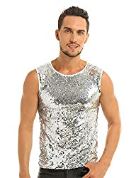 White Sequin Muscle Slim Fit Tank Top T-Shirt
