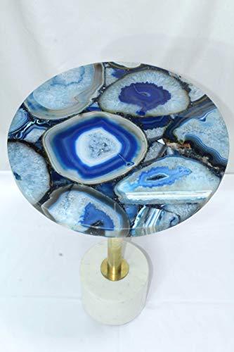 Rajasthan gemas hecho a mano semi preciosa ágata azul piedra mesa de centro latón mármol soporte