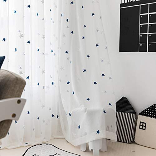 ERYUEL Estrellas Azules Bordado de Tul Cortinas for Ventana de la Sala Tratamientos for Sheer Cocina Dormitorio Personalizado Tela de la Cortina Tulle Ventana