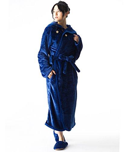 nukku~ヌック 着る毛布 ルームシューズ付き ガウンタイプ ルームウェア ポケット ボタン 腰ひも付き ブランケット 男女兼用【フリーサイズ-4無地ブルー】