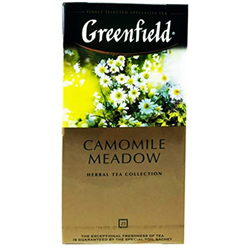 Greenfield Kamillenblütentee Litschi Camomile 3er Pack (3 x 25 Teebeutel) Tee herbal Tea