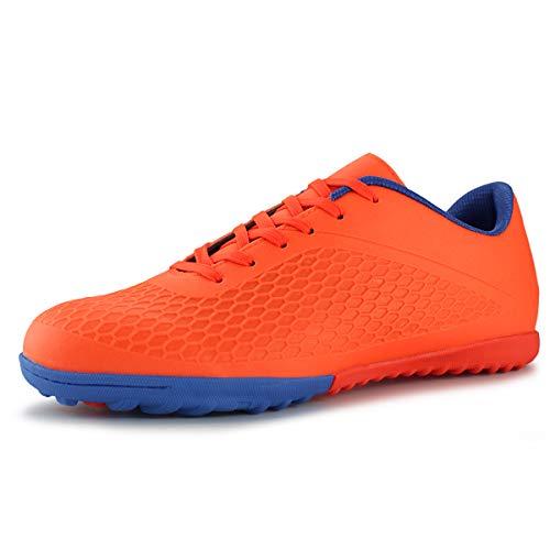 Hawkwell Men's Athletic Lightweight Running Indoor Comfortable Soccer Shoes (016-orange Navy, Numeric_8)