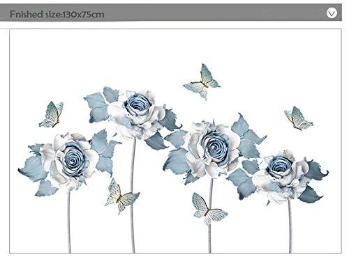 Adhesivo decorativo para pared, diseño de flores y mariposas, para salón, dormitorio, decoración de vinilo extraíble