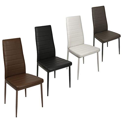 ESTEXO 2/4/6/8x Esszimmerstuhl, Esszimmerstühle, Stuhl, Stühle, Küchenstuhl, Stuhlgruppe, Lehnstuhl, Essstuhl (4 Stück, Weiß)
