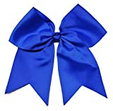 Kenz Laurenz Cheer Bows Blue Cheerleading Softball - Gifts for Girls and Women Team Bow with Ponytail Holder Complete Your Cheerleader Outfit Uniform Strong Hair Ties Bands Elastics (5)
