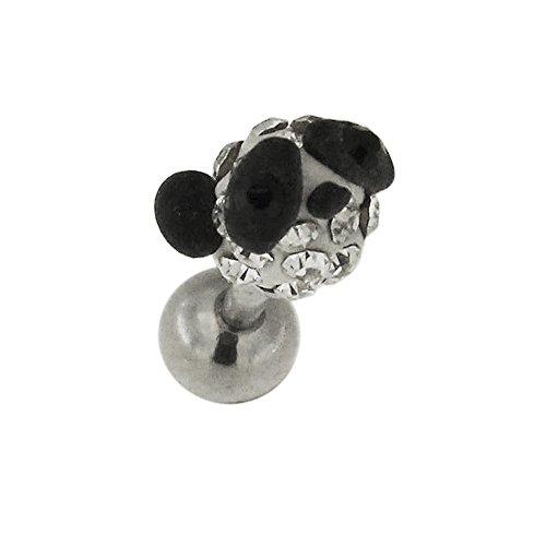 Multi Clear Crystal Stone Panda Gezicht 16 Gauge 316L Chirurgisch Staal Kraakbeen Tragus Piercing Sieraden