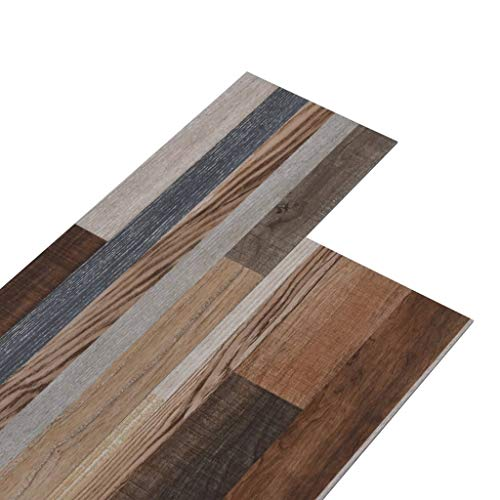 vidaXL PVC Laminat Dielen 5,02m² 2mm Selbstklebend Vinylboden Vinyl Boden Planken Bodenbelag Fußboden Designboden Dielenboden Mehrfarbig