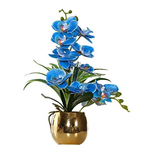 ENCOFT Kunstblumen orchideen Kunstpflanze Künstliche Blumen aus Eva Keramik Wohndeko Kunstbulme mit Übertopf Garten Balkon Wohnzimmer Hochzeit(43 * 12, Blau)