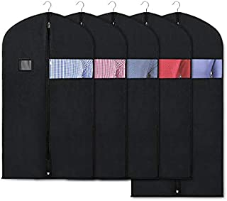 Zilink Black Garment Bags for Storage and Travel 43/50 INCH Dust-Proof Protector Suit Cover with Clear Window for Suit, Jacket, Shirt, Coat, Dresses (Pack of 5)
