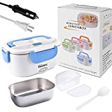Electric Lunch Box,Portable Food Warmer Heating,Food-Grade Stainless Steel Container, 12V 110V 40W Adapter, Car Truck Home Work Use,Spoon and 2 Compartments Included,Blue……