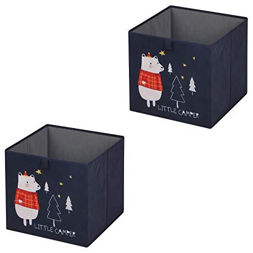 IDIMEX Faltbox Bear-2, Aufbewahrungsbox Ordnungsbox Stoffbox Regalbox, im 2er Pack, mit Motivdruck Bär