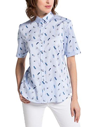 eterna Comfort Fit Bluse Halbarm Hemdenkragen Streifen hellblau Größe 50