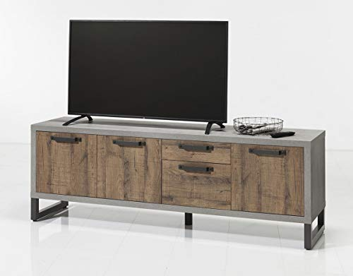 TV-meubel 3 deuren en 2 laden van hout, bruin en grijs – industrieel design – Brooklyn Collection