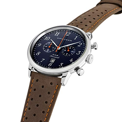 Armogan E.N.B - Blue Saphire C41 - Men's Chronograph Watch Brown Suede Leather Strap